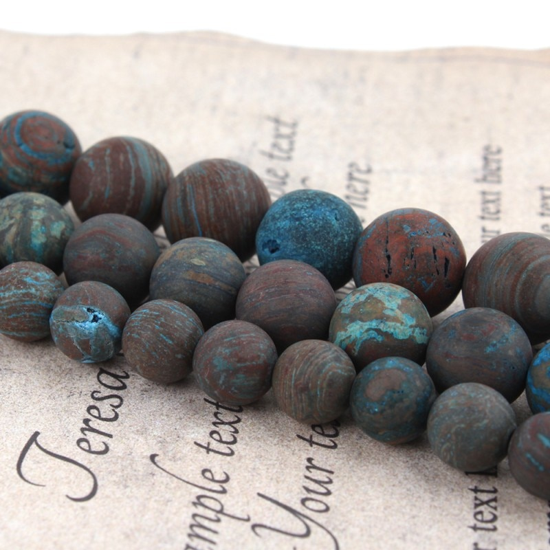 Gran oferta de cuentas sueltas redondas de piedra Natural Azul Mate Crazy Ágatas con encaje, 4 6 8 10 MM, tamaño de selección para fabricación de joyas de 15 pulgadas