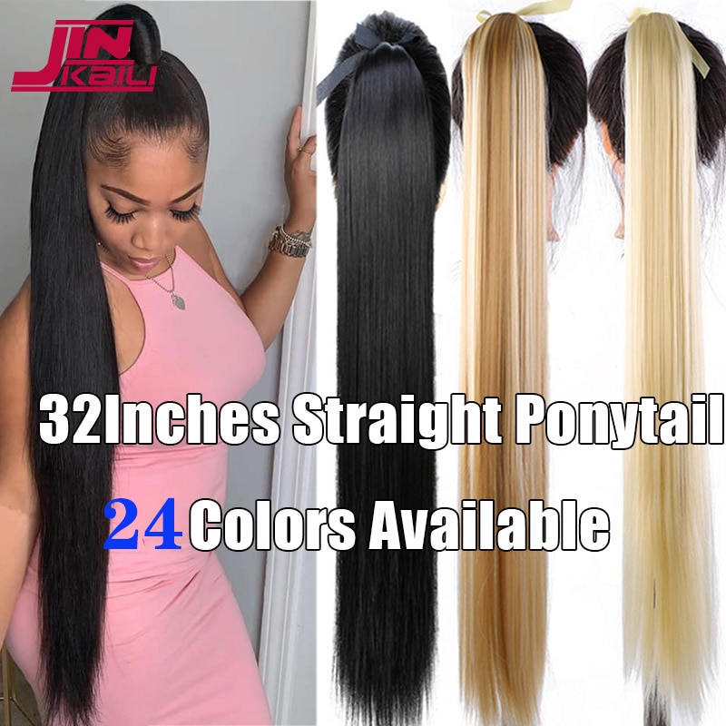 JINKAILI 85cm Super Long Straight Synthetic Ponytail Red Pink Purple Wig Support Wholesale Clip in Hair Extensions Pony Tail