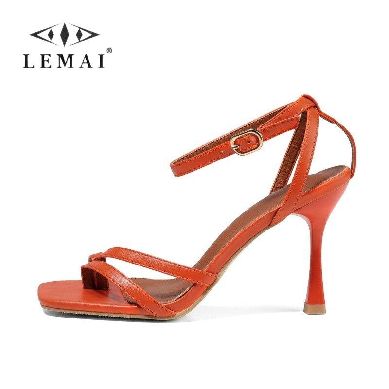 LEMAI Women Casual Orange Heel Sandals Fresh Wedding Party Stiletto High Heels Shoes Fashion Summer Flip Flops Sandals for Women