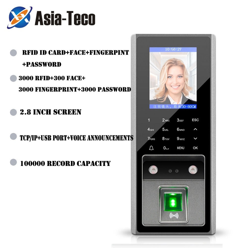 300 face 3000 figners 2.8inch LCD TCP/ip USB Biometric Fingerprint face Access Control device System