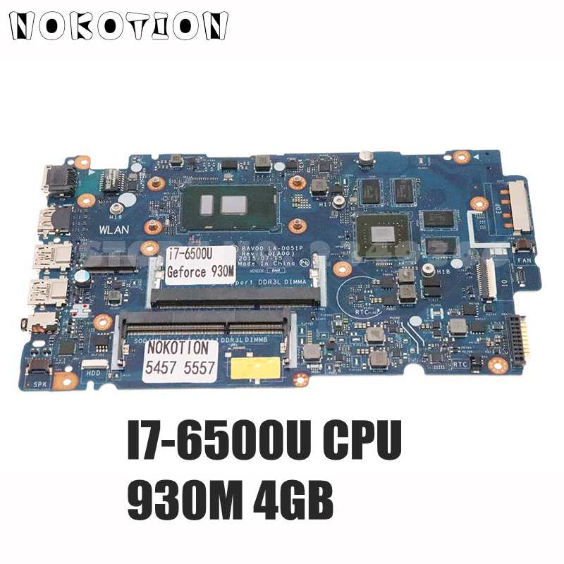 NOKOTION CN-02XPMY 02XPMY باف00 LA-D051P اللوحة الرئيسية لأجهزة الكمبيوتر المحمول ديل انسبايرون 5557 5457 i7-6500U وحدة المعالجة المركزية 930 متر 4 جيجابايت