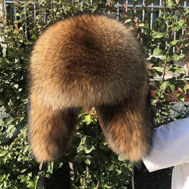 New Style Men's Winter Warm Raccoon Fur Ear Cap Russian Cossack Hunter Hat