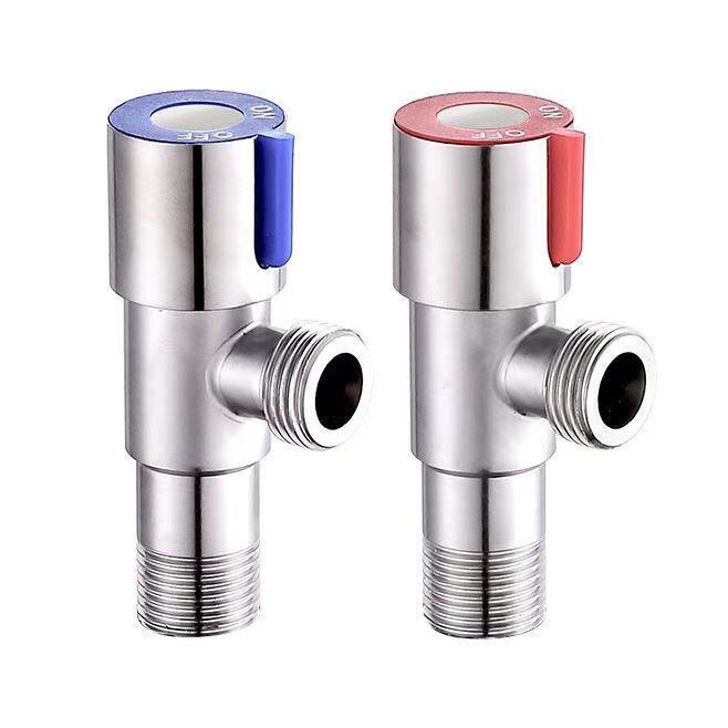 Sus304 aço inoxidável triângulo válvula de controle de fluxo de água quente e fria válvula de três vias g1/2 rosca válvula de ângulo de banheiro