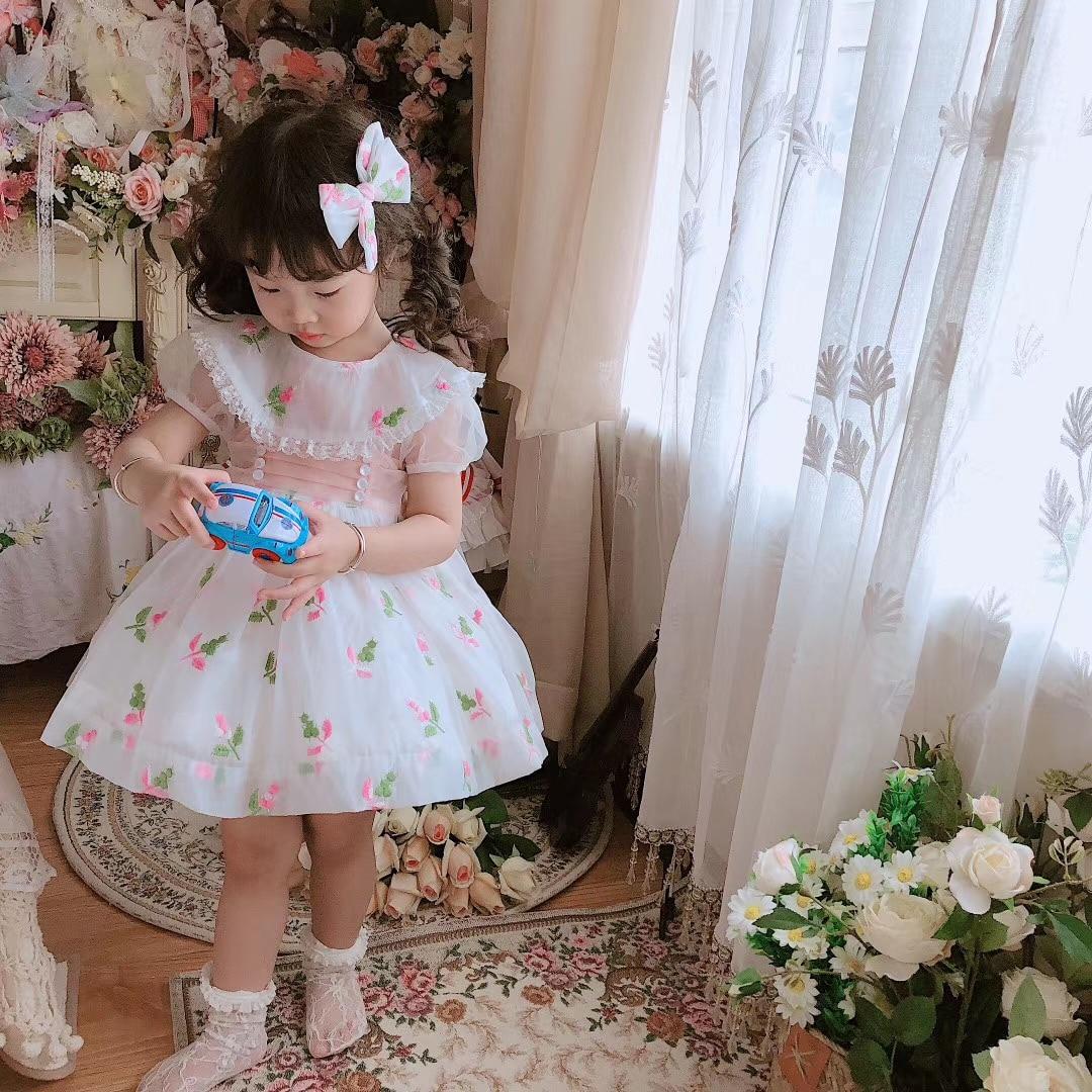 طفلة الصيف الوردي الأزهار الإسبانية الكرة ثوب لوليتا قصر الأميرة الدانتيل فستان لعيد الفصح عيد ميلاد عيد ميلاد عادية
