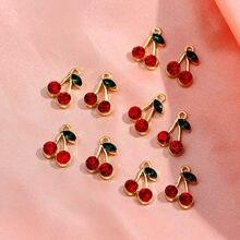 JJFOUCS 10 шт./компл. Подвески с милыми кристаллами вишни, металлические подвески с фруктами, подвески для сережек «сделай сам», ожерелье, ювелир...