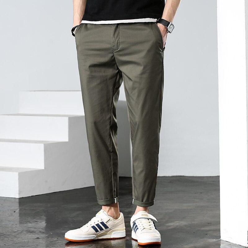 Мужские Молодежные облегающие длинные брюки 2021 Летние повседневные шаровары мужские модные брюки универсальная уличная одежда мягкие тон...