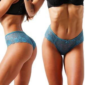 2 Pieces Woman Sexy Lace Elastic Low waist Panties Lingerie Transparent Underwear Nylon Briefs Adult Thongs Femme