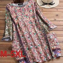 Plus Size 5XL Summer Cotton Linen Women Dress Vintage Long Style Print Women Tops Casual Half Sleeve
