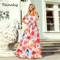 yeinchy fashion women summer elastic off shoulder short sleeve print dress with belt beach maxi split dress fm6044 2