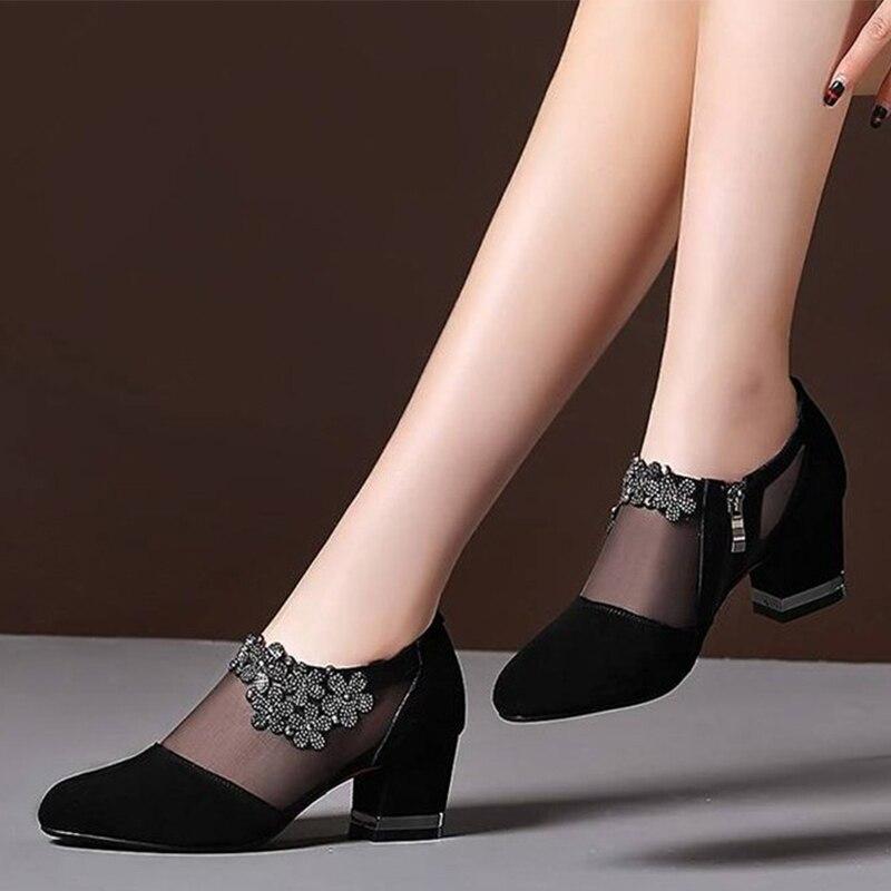 Zapatos de cristal con cremallera para Mujer, calzado Sexy femenino con cremallera...