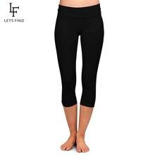 LETSFIND High Quaility Milk Silk Women High Waist Plus Size Fitness Capri Leggings Solid Black Elast