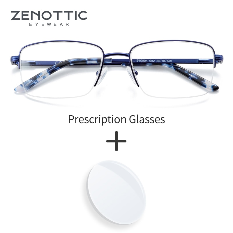 ZENOTTIC Alloy Prescription Glasses Rectangle Optical Spectacles Myopia Blue Light Glasses Progressi
