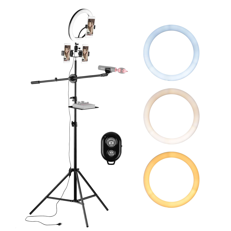 Kit de luz de anillo de vídeo 10 niveles regulable 3200-5600K con rótula de bola de trípode soportes de teléfono Micropone bandeja de obturador remoto Selfie Light
