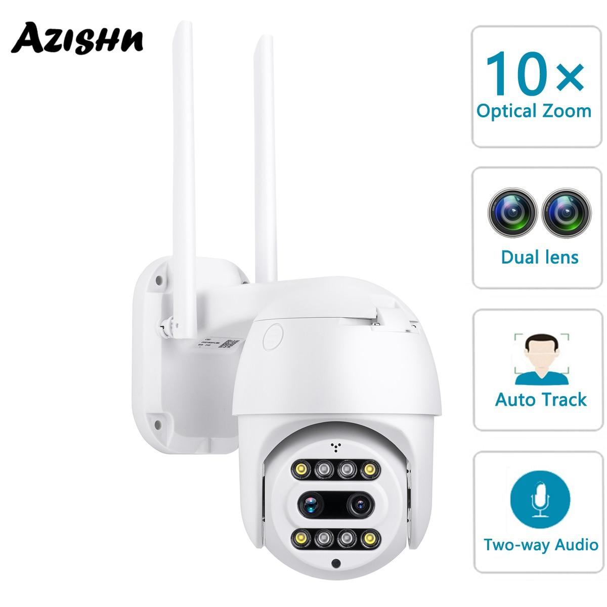 AZISHN 3MP كاميرا IP واي فاي PTZ 10X التكبير المزدوج عدسة الكاميرا اتجاهين الصوت الأمن CCTV قبة كاميرا مقاوم للماء P2P سرعة السيارات تتبع