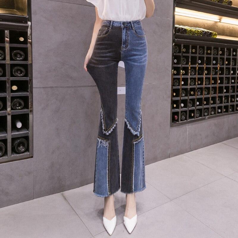Женские джинсовые брюки XUXI, сезон весна-осень 2021, подходящие цвета эластичные брюки с высокой талией, тонкие брюки до щиколотки, E3641