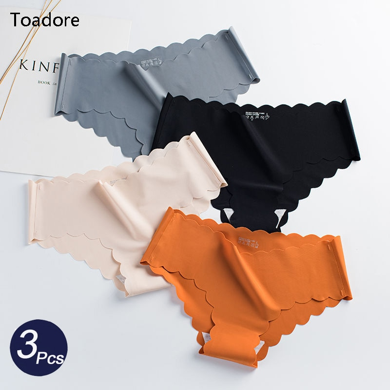 3Pcs/Set Seamless Underwear Female Slip Silk Women's Plain Color Panties Lady Ruffle Underpants Girls Briefs Smooth Panty Bragas
