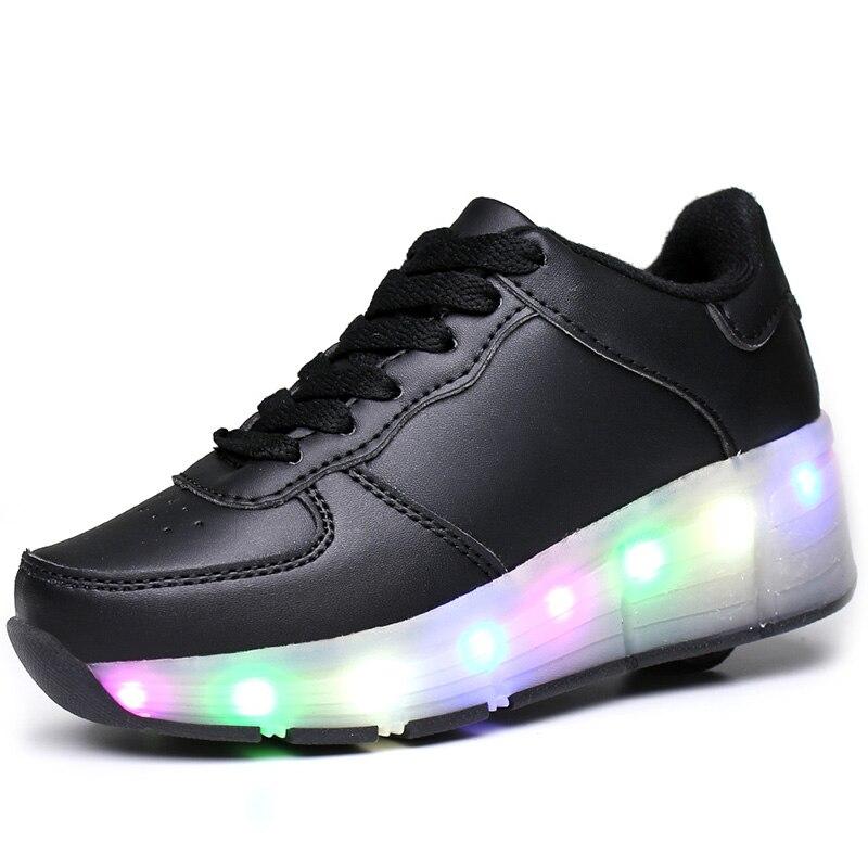 Nouveaux enfants chaussures de patin à roulettes blanc garçons filles lumière LED baskets avec roue garçon fille chaussures décontractées Zapatillas Ruedas