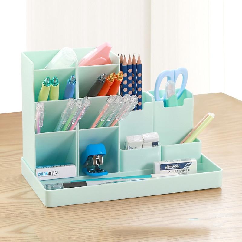 Large Capacity Cute Desk Pen Holder Pencil Storage Box Desktop Organizer Stand Case School Office Stationery