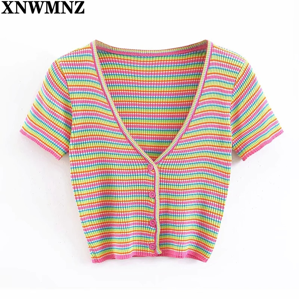 AliExpress - XNWMNZ 2021 Women Striped Short Sleeve T-shirt Women's Casual V Neck Single Breasted Knitted T-Shirt Female Sexy Slim Crop Tops
