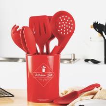 9Pcs Silicone Cookware Set Heat Resistant Nonstick Kitchen Tool Utensils Spatula Red Kitchen Accessories with Storage Bucket