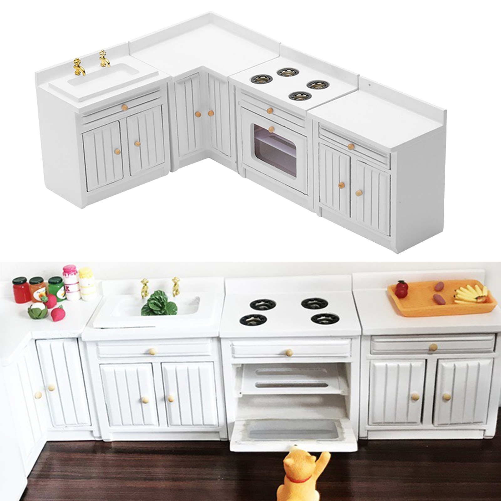 4Pcs 1:12 Dollhouse Miniature Furniture Wooden Kitchen Cabinet Set, Dollhouse Decoration Accessories, Freely Combined