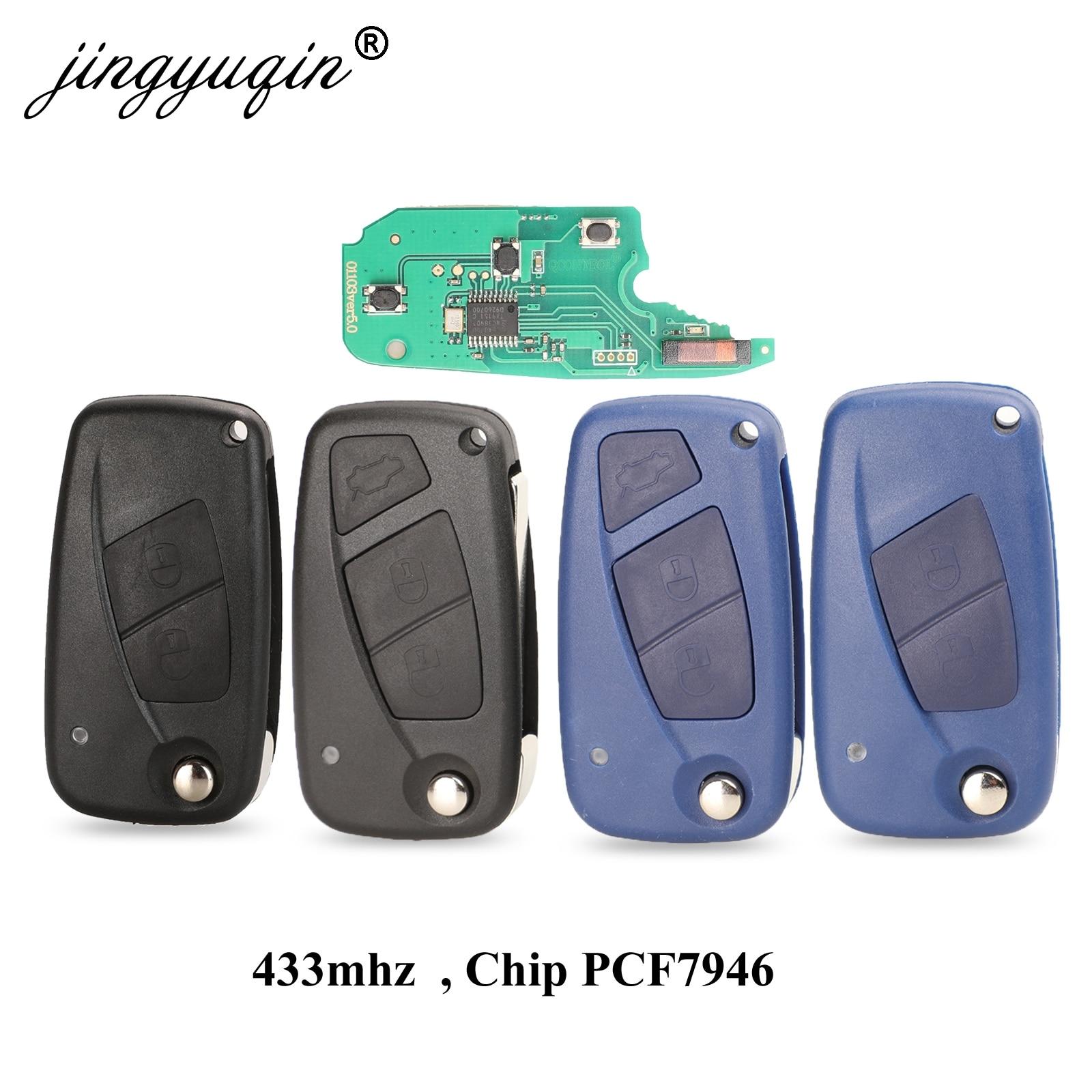 Jingyuqin 2 / 3 кнопки дистанционного ключа Delphi система 433 МГц для FIAt 500 Punto Ducato Stilo Panda Bravo ключ ID46 PCF7946 / 7941 чип
