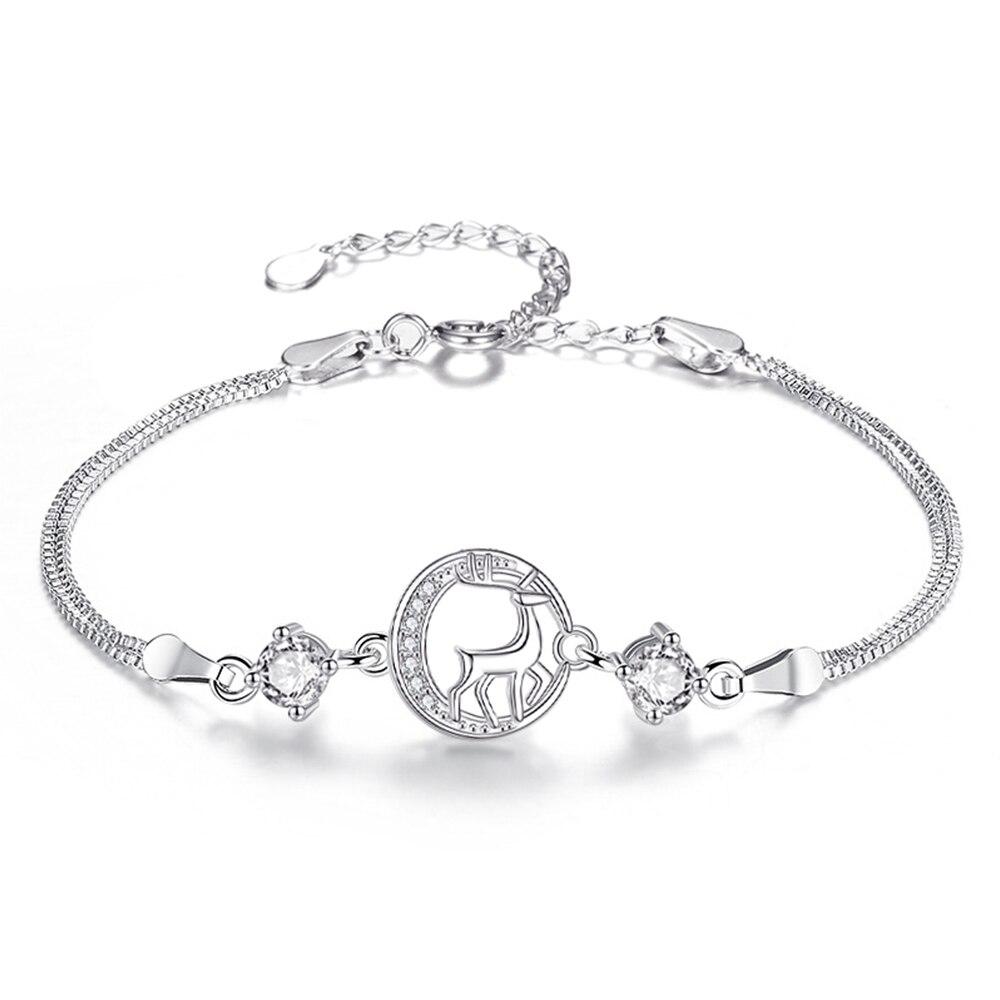 Pulsera de venado de Plata de Ley 925 YiYan para mujer, joyería de plata fina a la moda