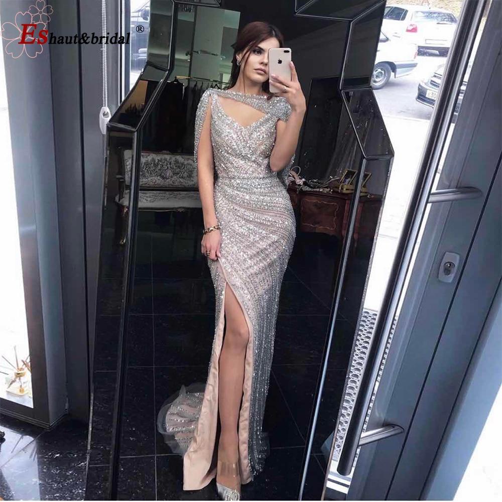 فستان سهرة طويل فاخر على شكل حورية البحر ، ياقة على شكل V ، مثير ، مطرز بالماس ، صناعة يدوية ، بدون أكمام ، فتحة جانبية ، دبي ، 2020