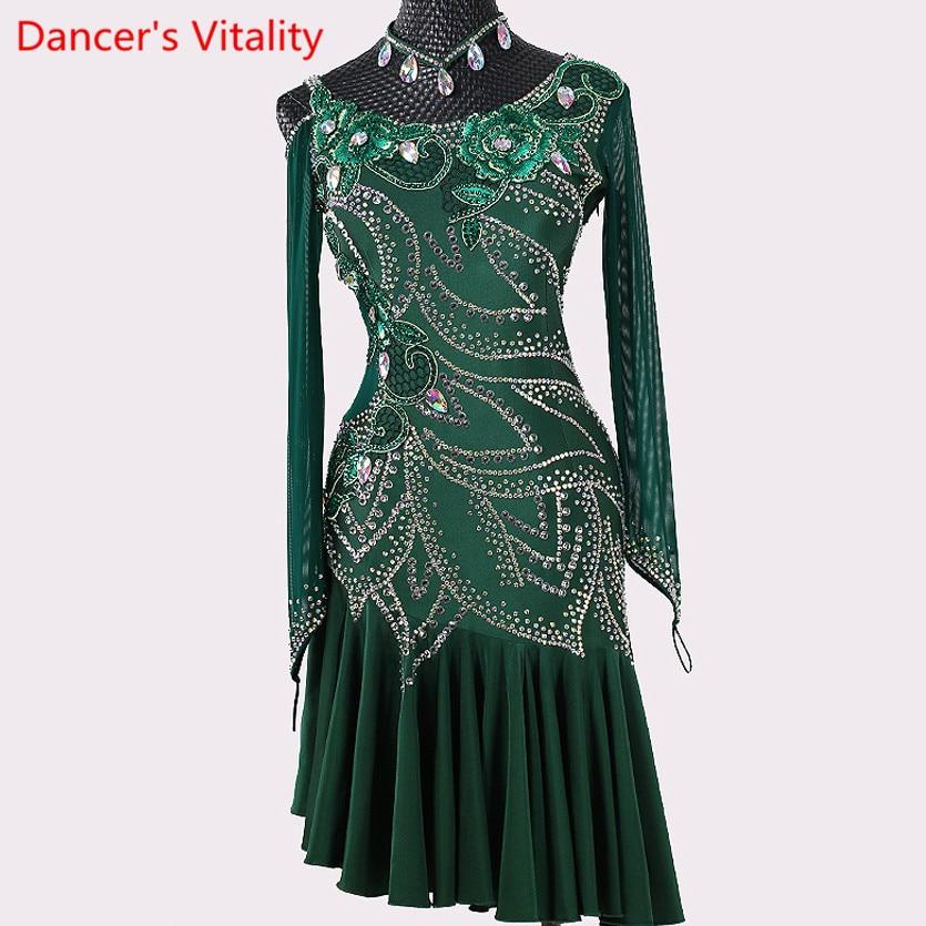 ملابس سباقات الرقص اللاتيني للنساء ، زي عالي الأداء ، زي احترافي مخصص ، ألماس ، بدلة رقص سامبا التانغو
