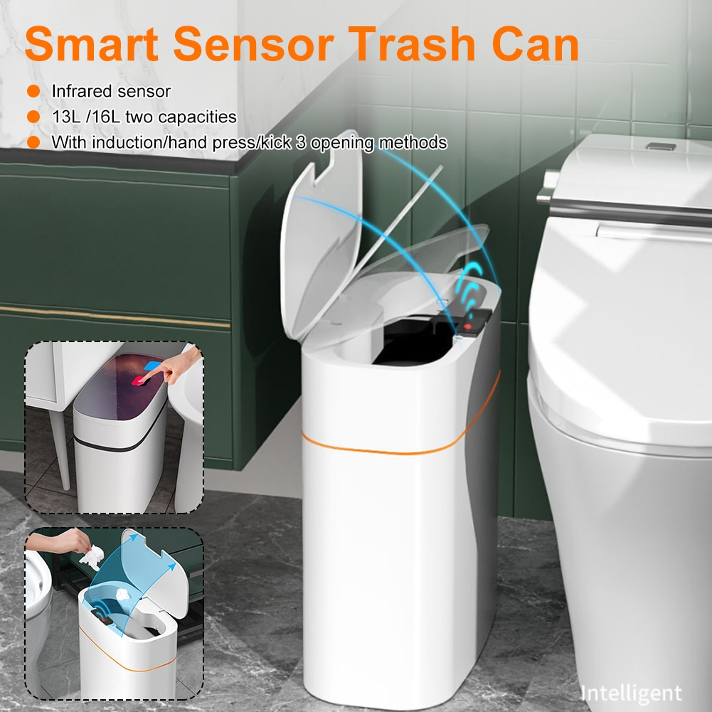 حاوية القمامة الذكية التلقائي التعريفي القابلة لإعادة الشحن سلة المهملات دلو مع غطاء حاوية سلة القمامة لغرفة النوم المطبخ الحمام