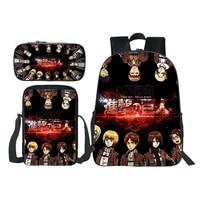 anime attack on titan backpack 3pcsset with pencil case messenger bag teenagers student schoolbag travel rucksack kids knapsack
