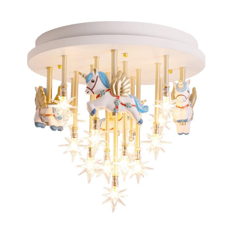 Sala de niños luz de techo estrella creativa caliente caballo volador princesa habitación mil grúa de papel nórdico contratado dormitorio luces