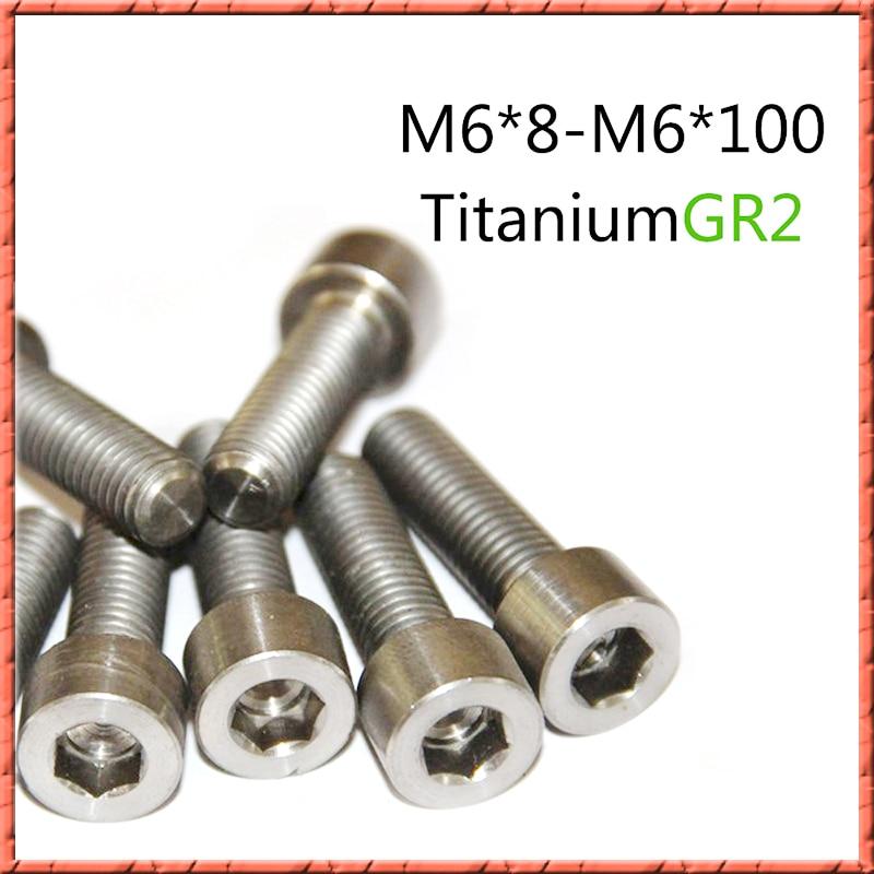 20-50pcs/lot titanium round bolt GR2 din912 hex socket cap screws cylinder head hexagon steel screw M6x6/8/10/12/15/20/25/30-100