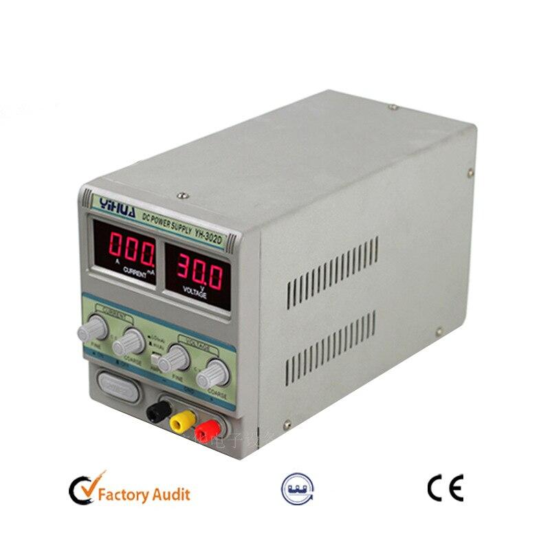 YIHUA-مزود طاقة منظم لإصلاح الهاتف الخلوي ، مزود طاقة قابل للتعديل 302D 30V 2A DC
