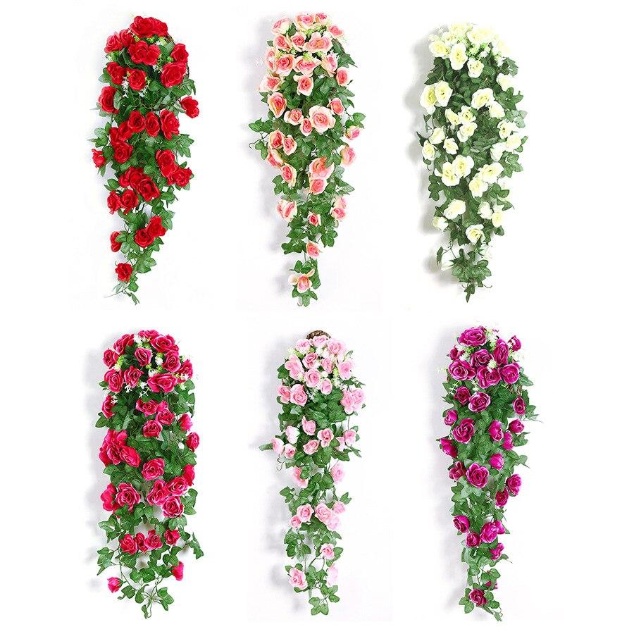 Flor de seda artificial flores artificiales Rosa vid colgante cesta sala de estar balcón decoración del hogar