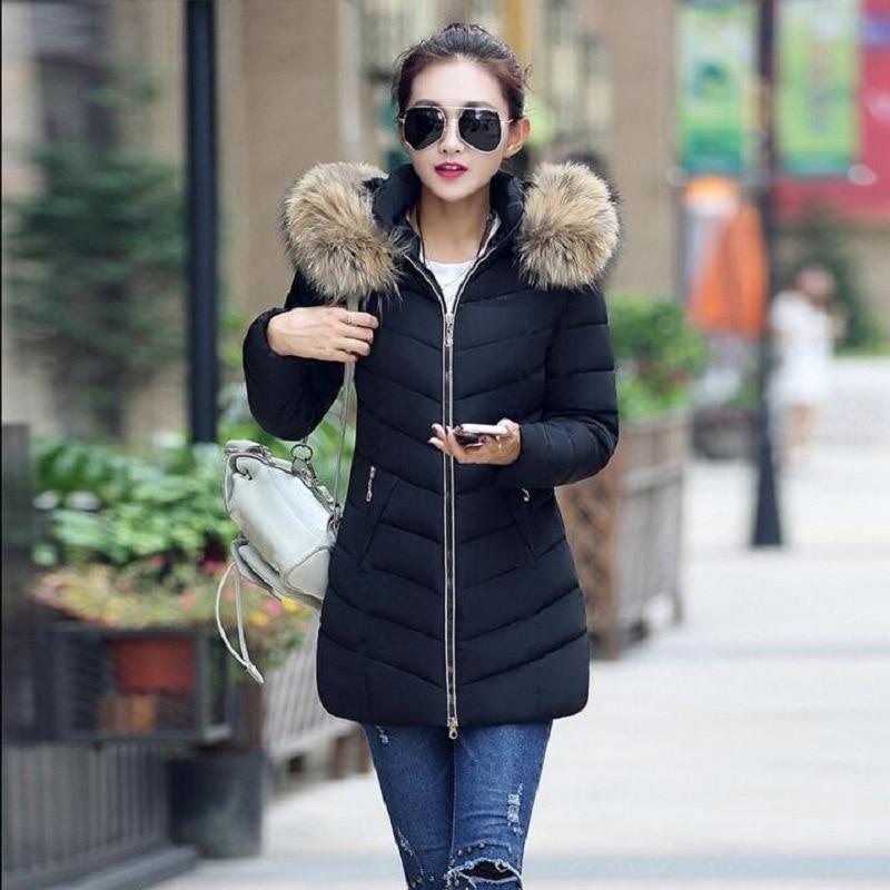 Женская пуховая куртка длинная куртка, пальто для женщин, теплая зимняя кофта с капюшоном с меховым воротником, Длинная зимняя куртка на пух...