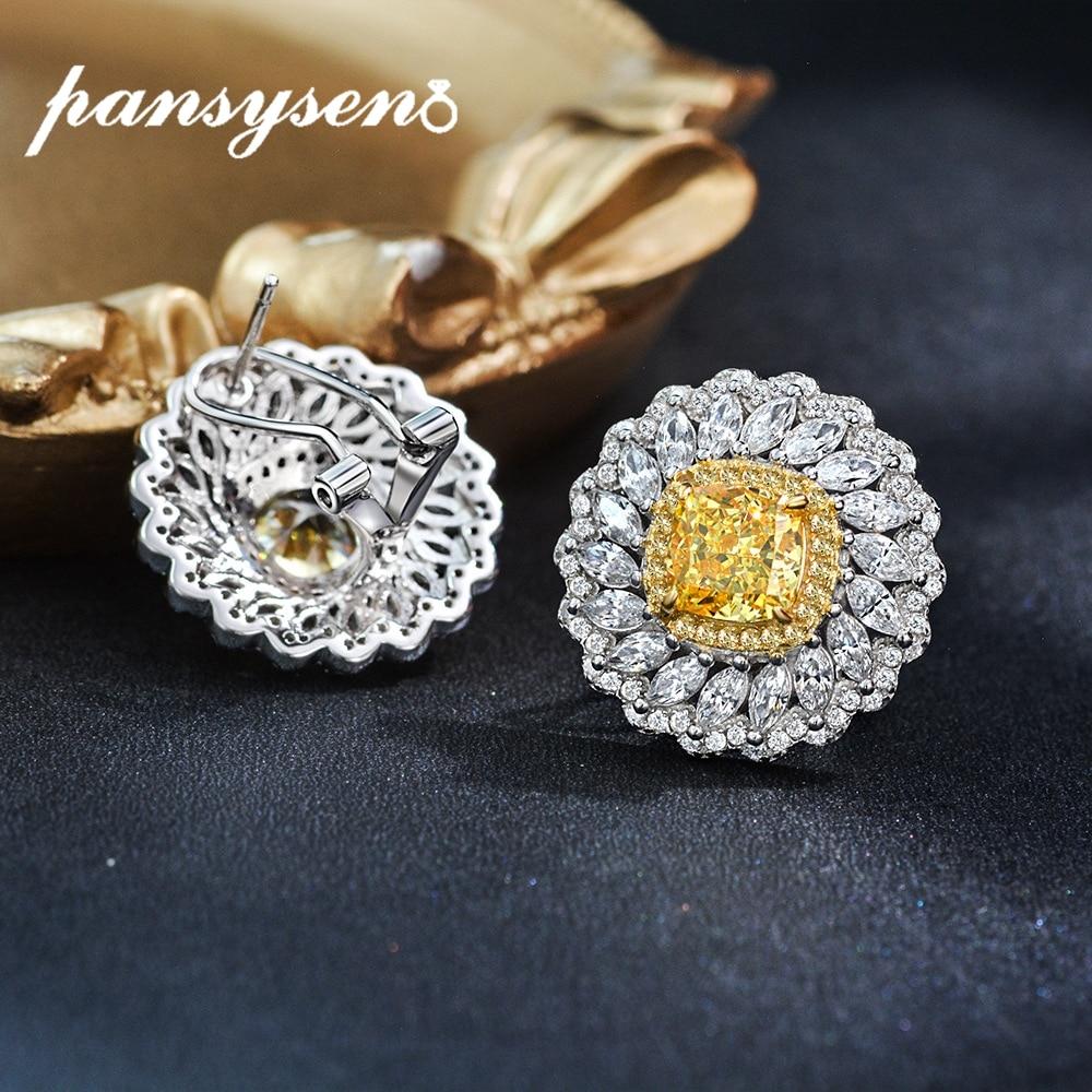 PANSYSEN Hyperbole 21MM Flower Shape Luxury Clip Earrings for Women Created Moissanite Citrine Real Silver 925 Fine Jewelry Gift