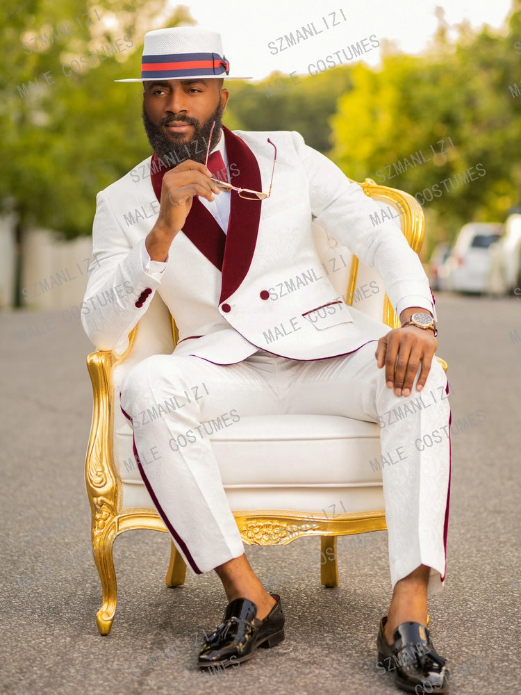 Double Breasted Suit Latest Coat Pant Designs White Floral Tuxedo Burgundy Lapel Party Dress Groom Suit Men Suit For Wedding