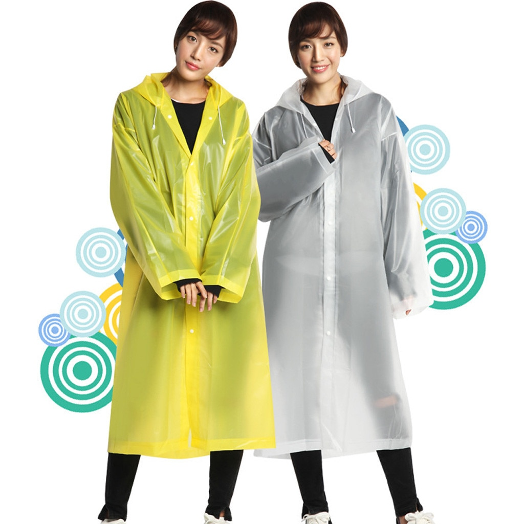 Chubasquero de moda transparente con capucha impermeable chaqueta Poncho de lluvia portátil adulto no desechable al aire libre impermeable abrigo @ 28