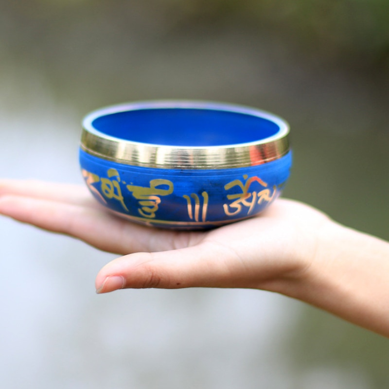 Silent Mind   Tibetan Singing Bowl Set   Blue Color Design   With Dual Surface Mallet and Silk Cushion   Promotes Peace enlarge