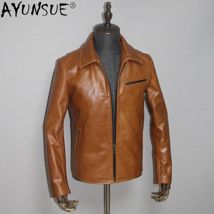 AYUNSUE-جاكيت رجالي من جلد البقر الحقيقي ، ملابس قصيرة 5XL ، معطف الخريف ، LXR433 ، 2020