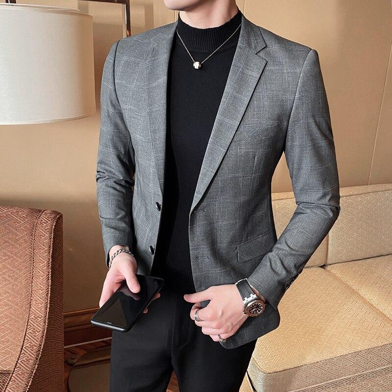 2020 chaqueta de marca para hombre, chaqueta de traje delgada para hombre, chaqueta Casual para fiesta de negocios coreana, trajes para hombre, ropa de abrigo para escenario de boda