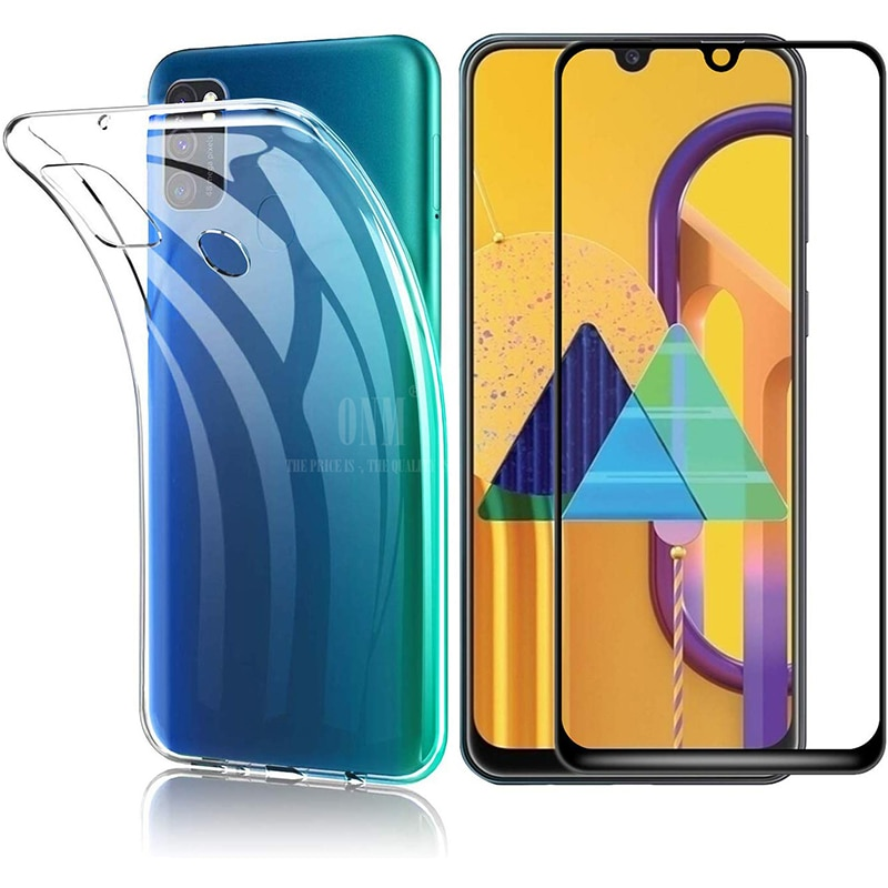 Vidrio 2 en 1 + funda completa para Samsung Galaxy M31 M30 M30s funda de silicona para Samsung M31 M30 M30s Protector de pantalla