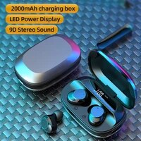 tws wireless bluetooth5 0 headphones mini waterproof sweat proof headset digital display earphone with 2000mah charging box