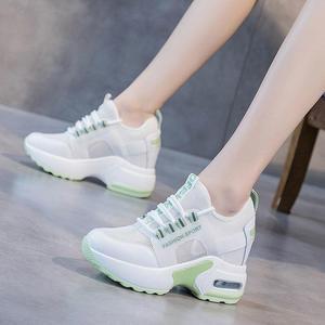 Кроссовки женские сетчатые, на шнуровке, резиновая подошва, повседневная обувь, плоская платформа, белые