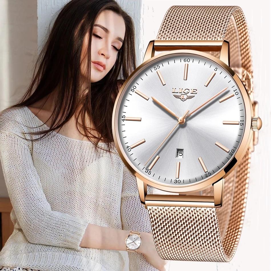 LIGE الفاخرة تاريخ ساعة المرأة مقاوم للماء ارتفع الذهب شبكة حزام السيدات ساعات المعصم العلامة التجارية الأعلى سوار ساعة Relogio Feminino 2020