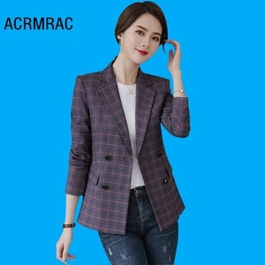 Women jacket Slim autumn coat Long sleeve Plaid Blazers Woman 321