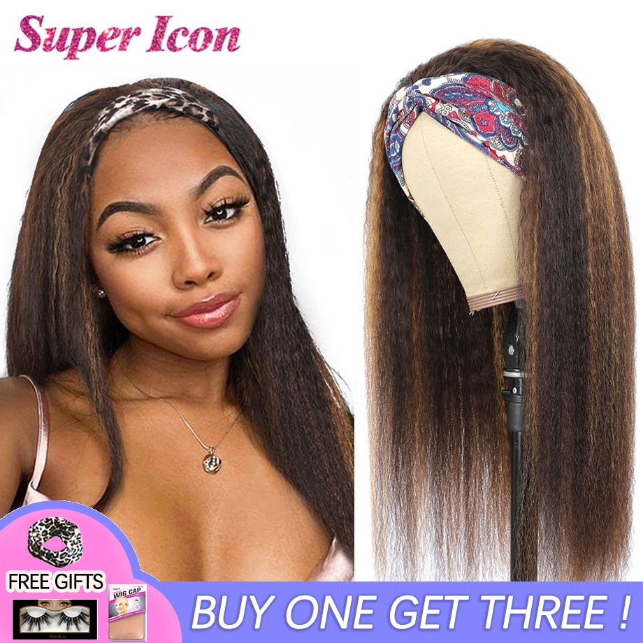 Highlight Wig Kinky Straight Human Hair Wigs 4/27 Colored Natural Ombre Glueless Headband Wig For Black Women Cosplay Super Icon
