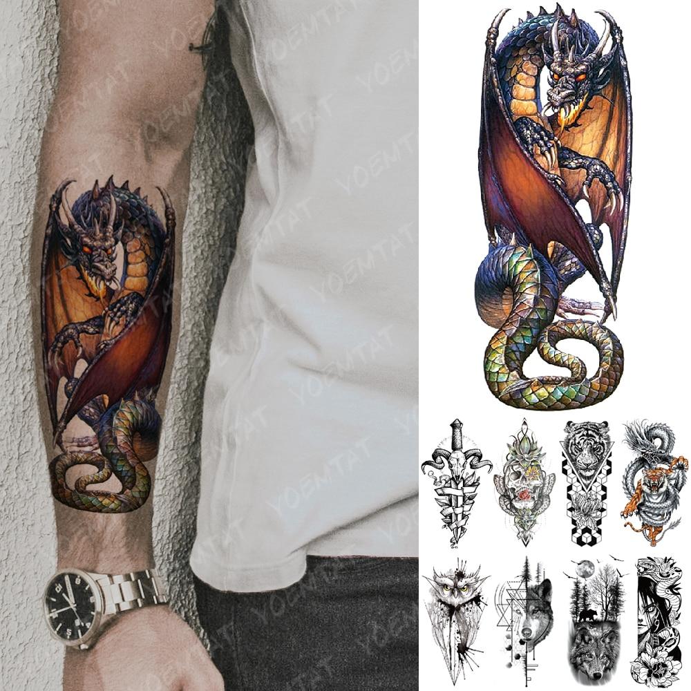 татуировки временные тату Водостойкая временная татуировка наклейка Дракон рыцарь Spitfire Вспышка татуировки Тигр Сова волк боди арт рука по...