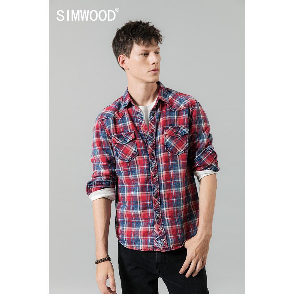 Мужская клетчатая рубашка SIMWOOD, Повседневная рубашка из 100% хлопка с двойным карманом, Осень-зима 2020, 190459